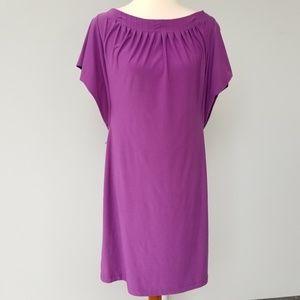 KOMAROV Sz L Purple Pleated Shift Dress
